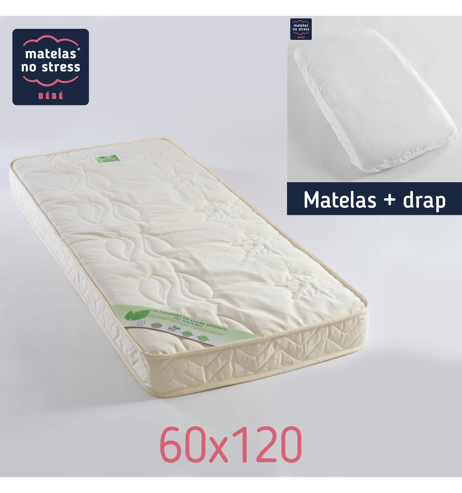 matelas 60x120 fibres de coco et son drap housse couffin matelas. Black Bedroom Furniture Sets. Home Design Ideas