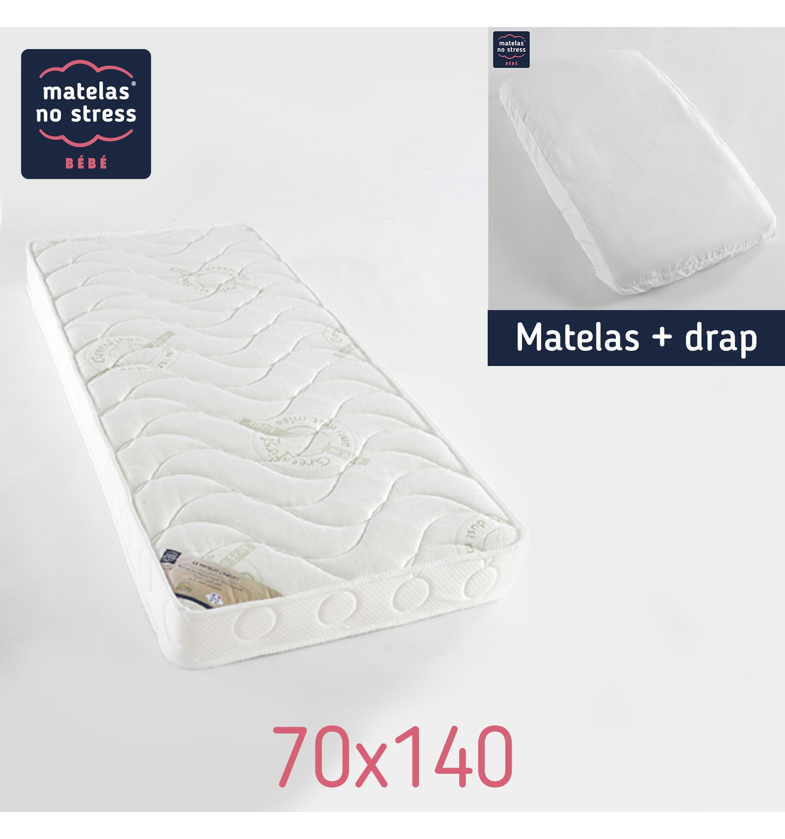 matelas 70x140 confort anti acariens et drap housse. Black Bedroom Furniture Sets. Home Design Ideas