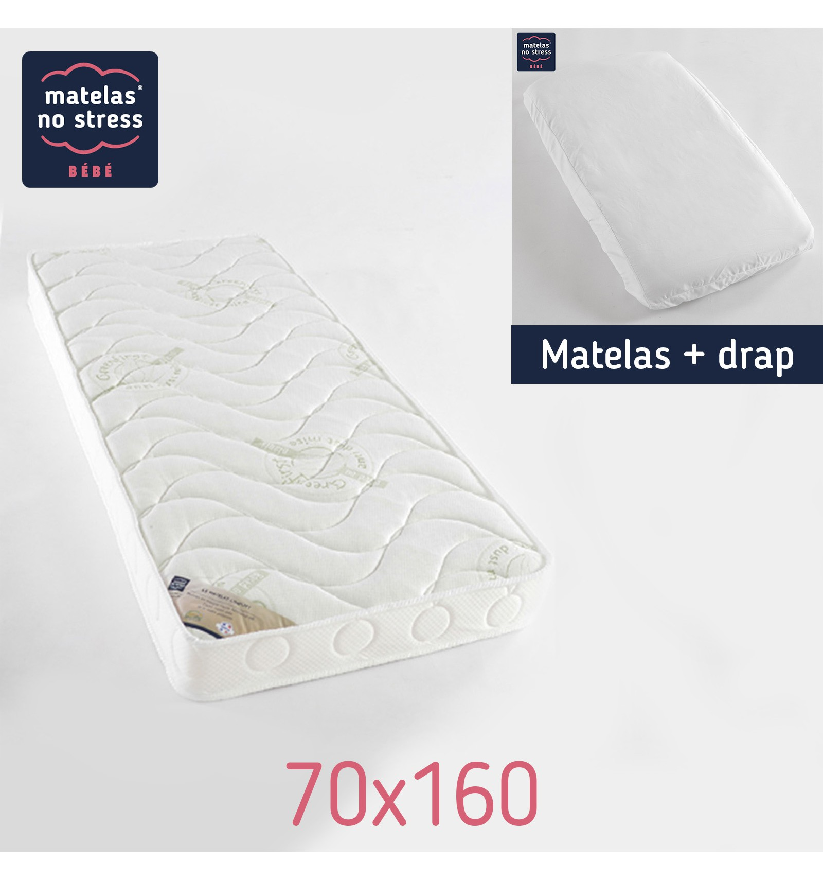 matelas 70x160 confort anti acariens et son drap housse couffin matelas. Black Bedroom Furniture Sets. Home Design Ideas