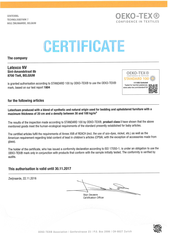 Certificat oeko -tex 2017