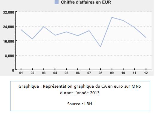 Représentation graphique du chiffre d'affaire en euro sur CMB durant l'année 2013