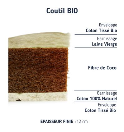 Matelas fibres de Coco laine Bio 90*200