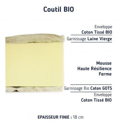 Matelas Mousse Laine et Coton Bio 90*200