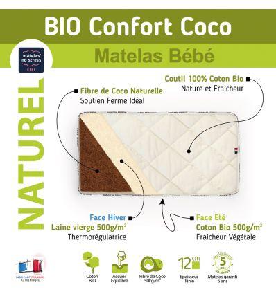 matelas 70x140 fibres de coco laine et coton bio