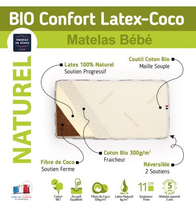 matelas 70x140 coco latex bio