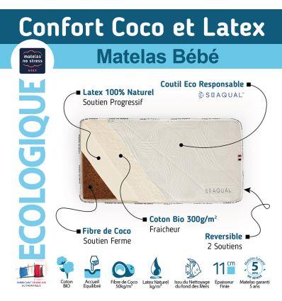 matelas bébé 70x140 coco latex avec son coutil SEAQUAL